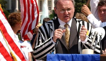 Morton Klein, the national president of the Zionist Organization of America (ZOA), speaks at a demonstration held near the White House in Washington on July 25, 2003.