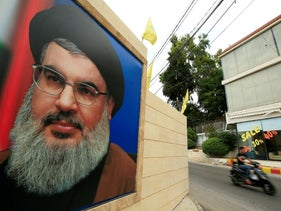 A poster in the Lebanese town of Sidon with a picture of Hezbollah leader Nasrallah.