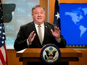 Secretary of State Mike Pompeo, speaks during a news conference at the State Department, Washington, July 1, 2020.