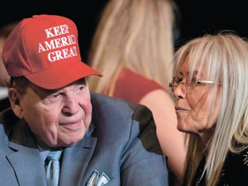 Sheldon and Miriam Adelson at a Trump rally in Las Vegas on February 21, 2020.