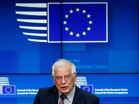 European Union foreign policy chief Josep Borrell speaks during a media conference after a meeting of EU foreign ministers at the European Council building in Brussels, on Monday, July 13, 2020.