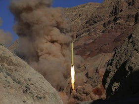 The launch of a ballistic missile in Iran, in 2016.
