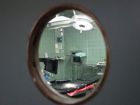 Operating room at Kaplan, seen through porthole window