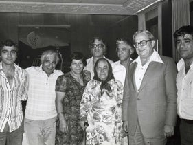 "Members of the Banai family with Israel's President Yitzhak Navon, second from right. This is one of the photos on display at the Tower of David exhibition ""Banai – A Musical Journey from Persia to Jerusalem,"" in Jerusalem, July 2020"