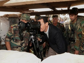 Syrian President Bashar al Assad visiting Syrian army troops in war-torn northwestern Idlib province, Syria, October 22, 2019.