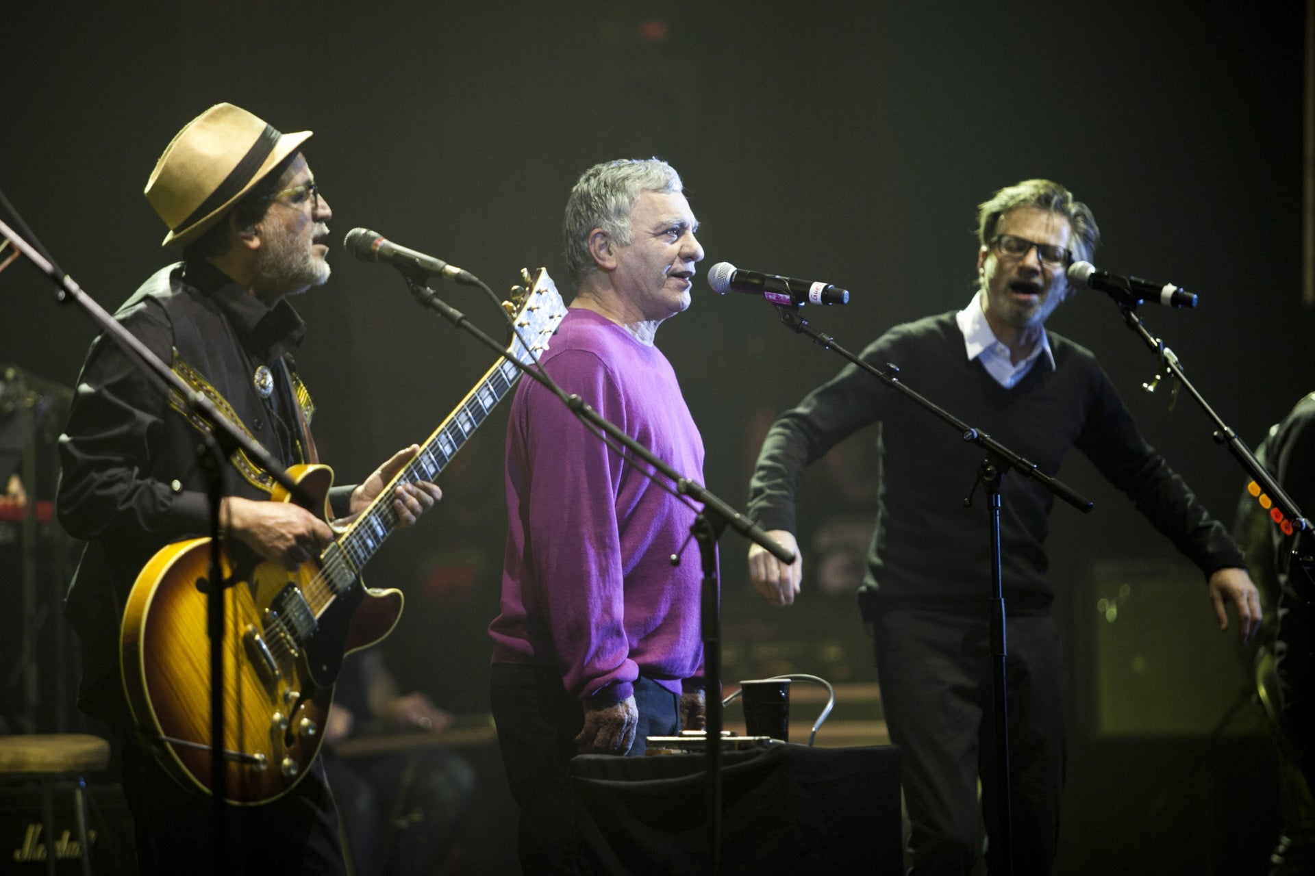 """Ehud, Gavri and Yuval Banai performing together in Tel Aviv in 2015.The Banai family is being showcased in an exhibition in the Tower of David in Jerusalem called """"Banai – A Musical Journey from Persia to Jerusalem,"""" July 2020."""