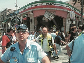 The scene of the 2001 suicide bombing in which Ahlam al-Tamimi took part, and killed 15 people, Jerusalem, August 9, 2001.