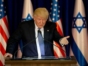 U.S. President Donald Trump talks during a briefing after his meeting with Israeli Prime Minister Benjamin Netanyahu in Jerusalem, May 22, 2017.