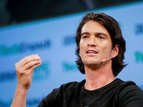Adam Neumann, then CEO of WeWork, speaks to guests during the TechCrunch Disrupt event in Manhattan, in New York City, May 15, 2017.