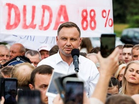 Polish President Andrzej Duda attends a meeting with local residents following his victory in a presidential election in Odrzywol, Poland July 13, 2020