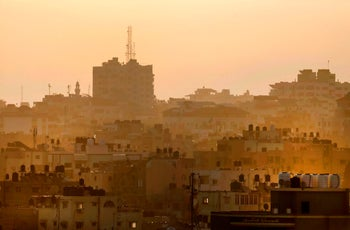 A picture taken on July 1, 2020, shows a view of buildings in Gaza city.