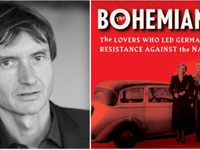 "Author Norman Ohler, left, and the cover of ""The Bohemians."""