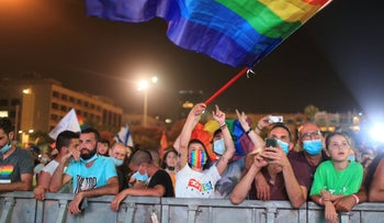 Protesters at an LGBTQ rights rally in Tel Aviv, June 28, 2020.
