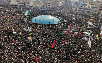 Mourners gather to pay homage to top Iranian military commander Qasem Soleimani, after he was killed in a U.S. strike in Baghdad, in the capital Tehran, January 6, 2020.