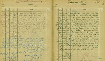 A spread from the Bergen-Belsen DP camp notebook detailing rabbinical rulings for Holocaust survivors.