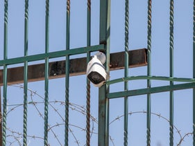 The security camera at the site where Eyad Hallaq was killed, in Jerusalem.