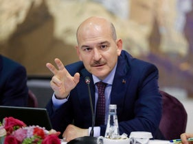 Turkish Interior Minister Suleyman Soylu speaks during a news conference for foreign media correspondents in Istanbul, August 21, 2019.