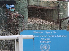 A U.N. peacekeeper at his post in the village of Markaba, southern Lebanon, April 17, 2020.