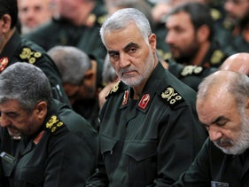 Revolutionary Guard Gen. Qassem Soleimani, center, attends a meeting in Tehran, September 18, 2016