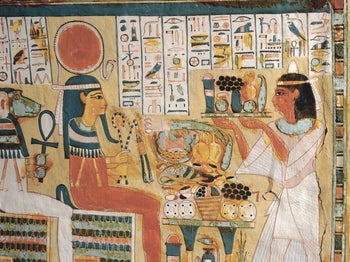 Hieroglyphs and other illustrations adorning the tomb of an Egyptian pharaoh.
