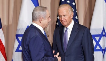 Israeli Prime Minister Benjamin Netanyahu and then U.S. Vice-President Joe Biden prior to a meeting on the sidelines of the World Economic Forum in Davos. Jan. 21, 2016