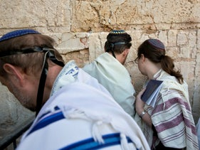 American and Israeli Reform rabbis pray at the Western Wall in Jerusalem's old city, February 25, 2016.