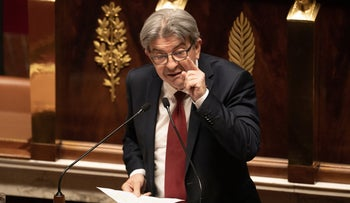 French leftist party La France Insoumise's leader Jean-Luc Melenchon gives a speech at the National Assembly in Paris, July 15, 2020.