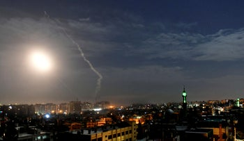 An airstrike attributed to Israel near Damascus, Syria, 2019.
