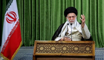 Iran's Supreme Leader Ayatollah Ali Khamenei addresses lawmakers during a virtual meeting in the capital Tehran, amid the COVID-19 pandemic, on July 12, 2020.