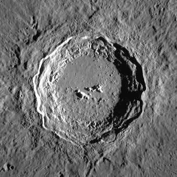 Crater Copernicus on the Moon. Mosaic of photos by Lunar Reconnaissance Orbiter, made with Wide Angle Camera. Size of the image is 150×150 km, north is up