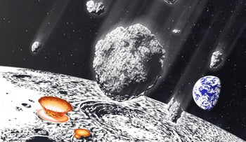 Artist's impression of an asteroid shower hitting the moon