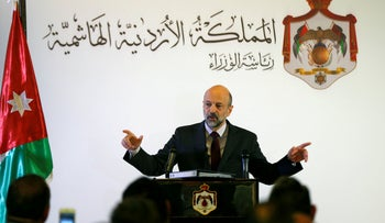 Jordan's Prime Minister Omar al-Razzaz speaks to the media during a news conference in Amman, Jordan April 9, 2019.