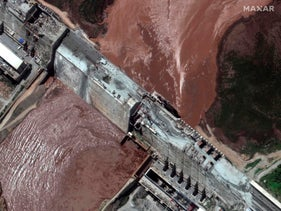 The Grand Ethiopian Renaissance Dam (GERD) and the Blue Nile River on July 12, 2020.
