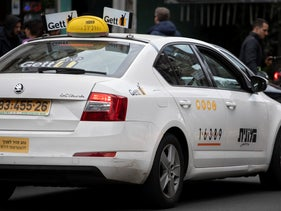 An Israeli Gett taxicab in Tel Aviv, March 6, 2020.