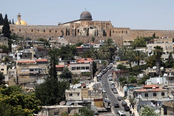 The al-Aqsa mosque compound as seen from the Palestinian neighborhood of Silwan in east Jerusalem, on July 1, 2020.