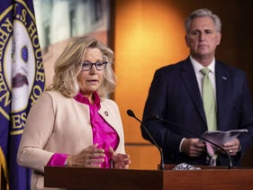 U.S. Rep. Liz Cheney (R-WY) speaks during a news conference with House Minority Leader Kevin McCarthy (R-CA) and other Republican members of the House of Representatives at the Capitol on July 21, 2020 in Washington, DC.
