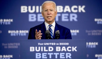 Democratic presidential candidate Joe Biden speaks at a campaign event at the Colonial Early Education Program at the Colwyck Training Center,  New Castle, Delaware, July 21, 2020.