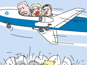 Netanyahu, his spouse Sara and son Yair fly over the protesters in an airplane.