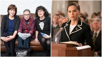 "Justice Ruth Bader Ginsburg either side of ""RBG"" directors Betsy West (left) and Julie Cohen, and Felicity Jones as Ginsburg in ""On the Basis of Sex."""