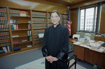 Ruth Bader Ginsburg in her office at the U.S. District Court in Washington after the Senate voted 96-3 in support of her nomination to the Supreme Court in August 1993.