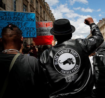 A during a demonstration against the killing of George Floyd in Paris, France,  June 6, 2020.