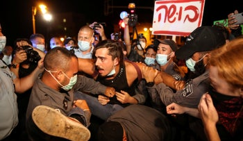 Anti-Netanyahu protests clashing with Israel Police officers in Jerusalem, July 23, 2020.