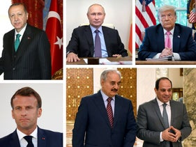From top left: Turkey's Erdogan and Libya's UN-backed leader Sarraj, Russia's Putin, U.S. President Trump, Italy's PM Conte, French President Macron, and Egypt's Sissi with Libya's General Haftar,.