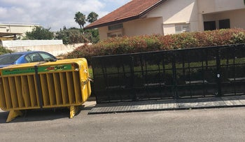 New fences close to Netanyahu's house in the northern seaside Israeli town of Caesarea, on Thursday, July 23, 2020.