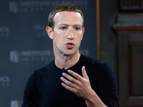 Facebook founder Mark Zuckerberg speaking at Georgetown University in Washington, October 17, 2019.