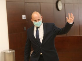 Naftali Bennett is seen in the Knesset on swearing in day, May 17, 2020.