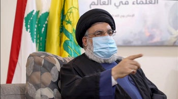 An image grab taken from a video posted on Hezbollah's al-Manar TV website showing Hezbollah leader Hassan Nasrallah, July 25, 2020