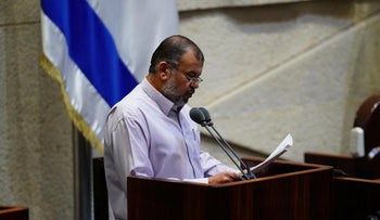 Joint List lawmaker Walid Taha in the Knesset, Jerusalem, June 2020.