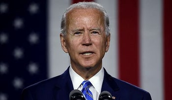 Democratic presidential candidate and former Vice President Joe Biden speaks at a Clean Energy event in Wilmington, Delaware.  July 13, 2020