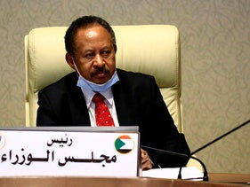 Sudanese Prime Minister Abdullah Hamdok meets newly appointed governors across Sudan in the capital Khartoum on July 26, 2020